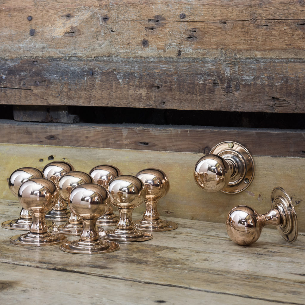 Edwardian rose brass door knobs,-0