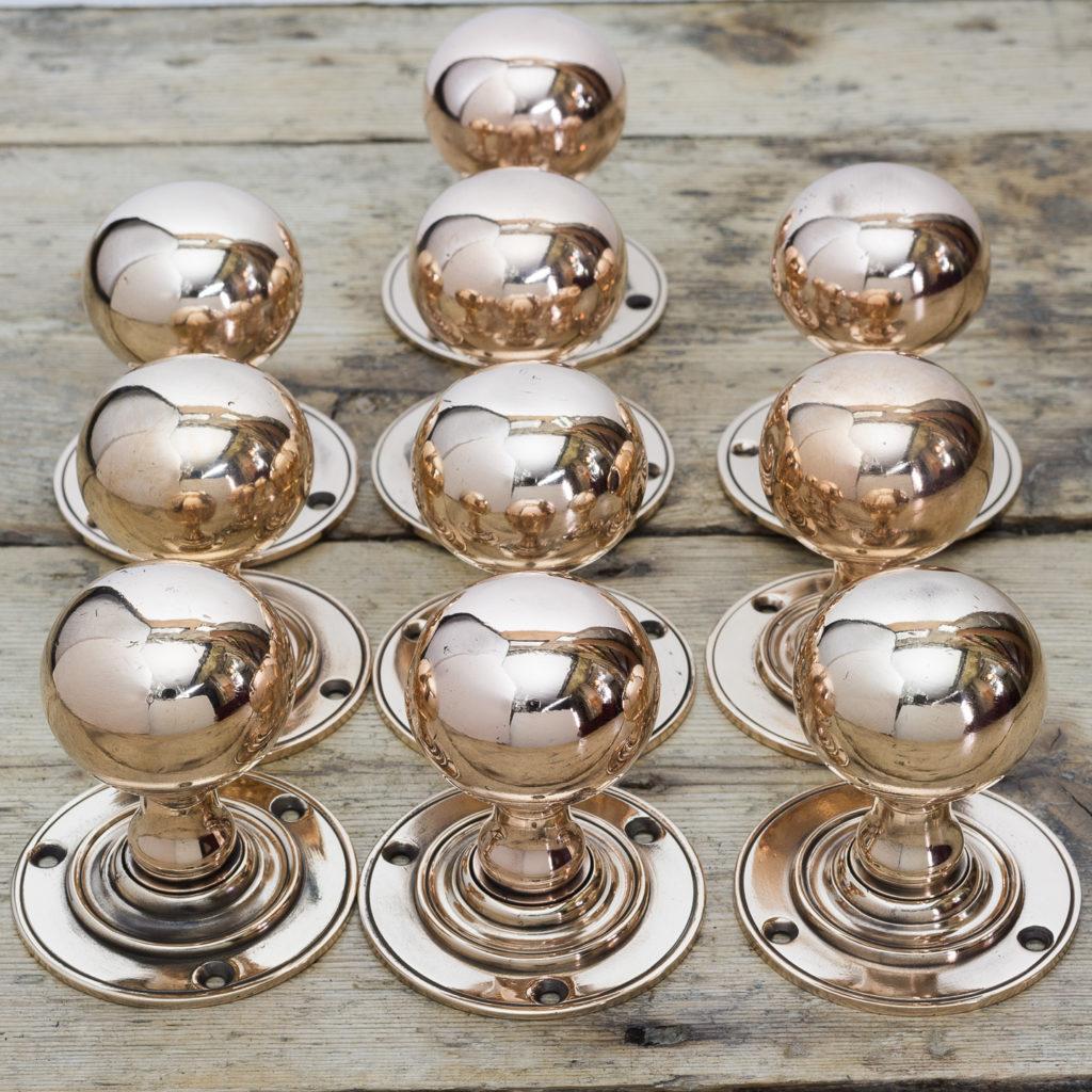 Edwardian rose brass door knobs,-122297