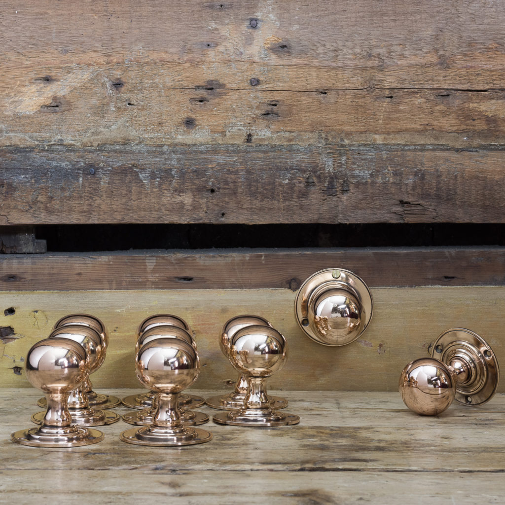 Edwardian rose brass door knobs,-122292