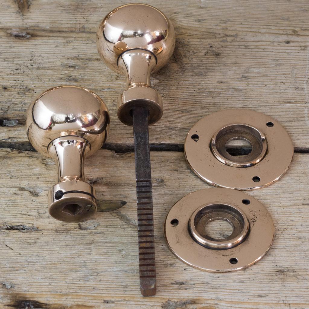 Early twentieth century rose brass door knobs,-122300