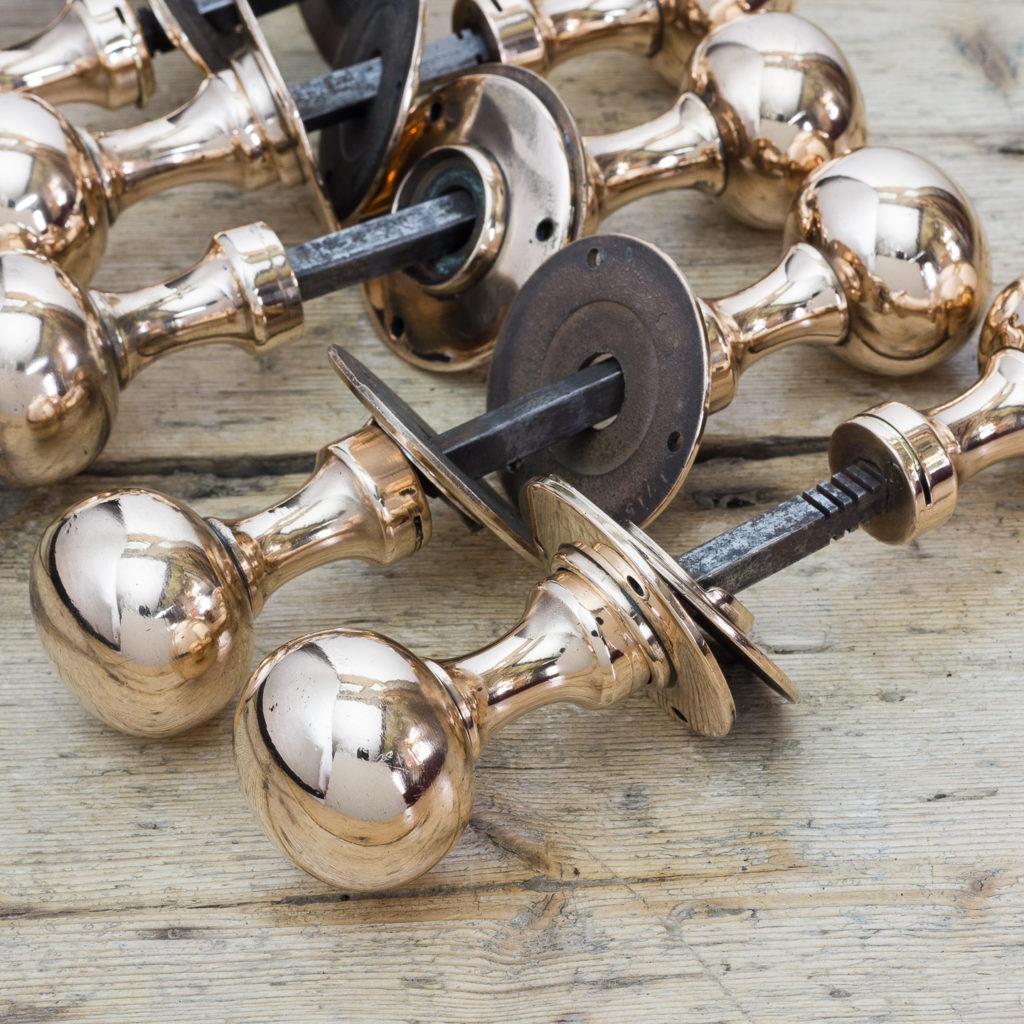 Early twentieth century rose brass door knobs,-122299