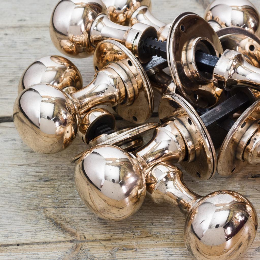 Early twentieth century rose brass door knobs,-122301