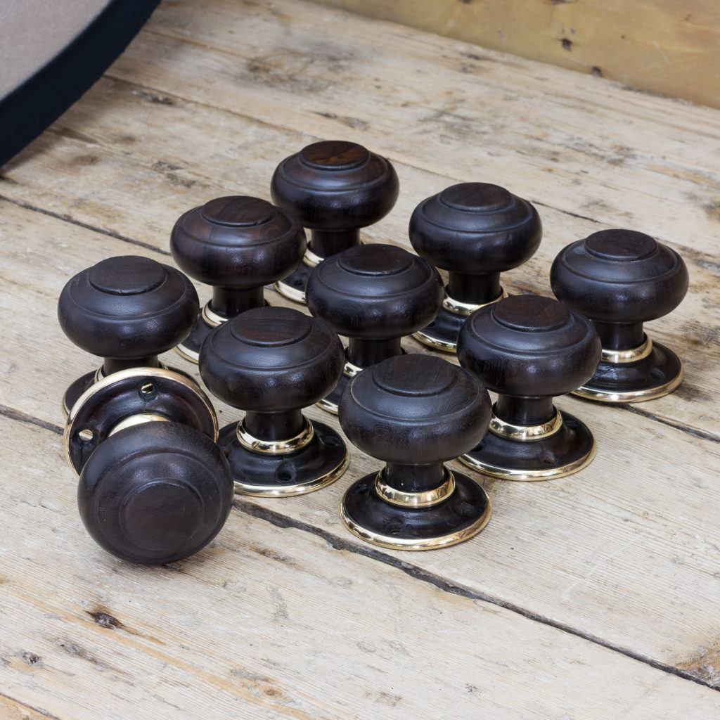Victorian turned ebony door knobs, -122321
