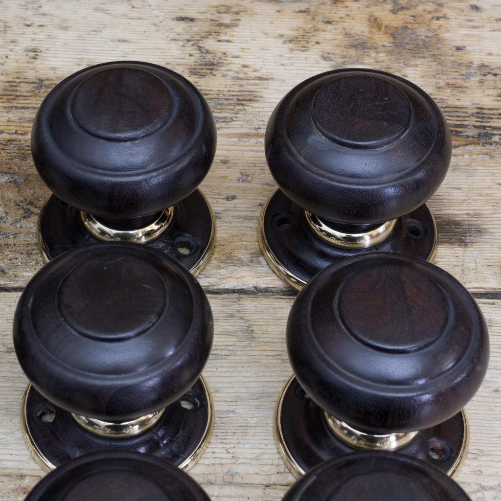Victorian turned ebony door knobs, -122324