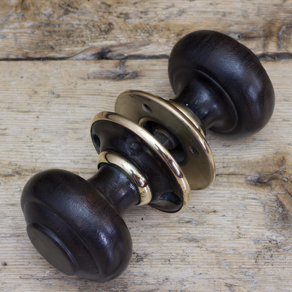 Victorian turned ebony door knobs, -122317