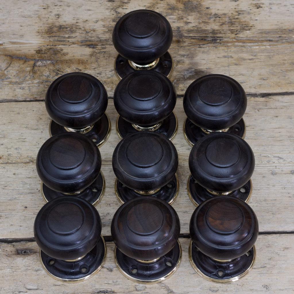 Victorian turned ebony door knobs, -122319