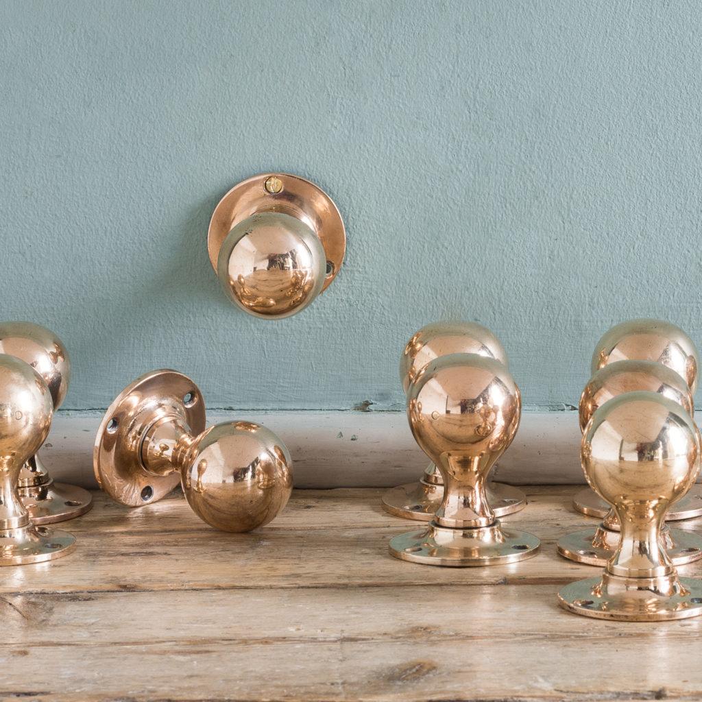 Early twentieth century rose brass door knobs,-122359