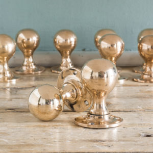 Early twentieth century rose brass door knobs,-122358