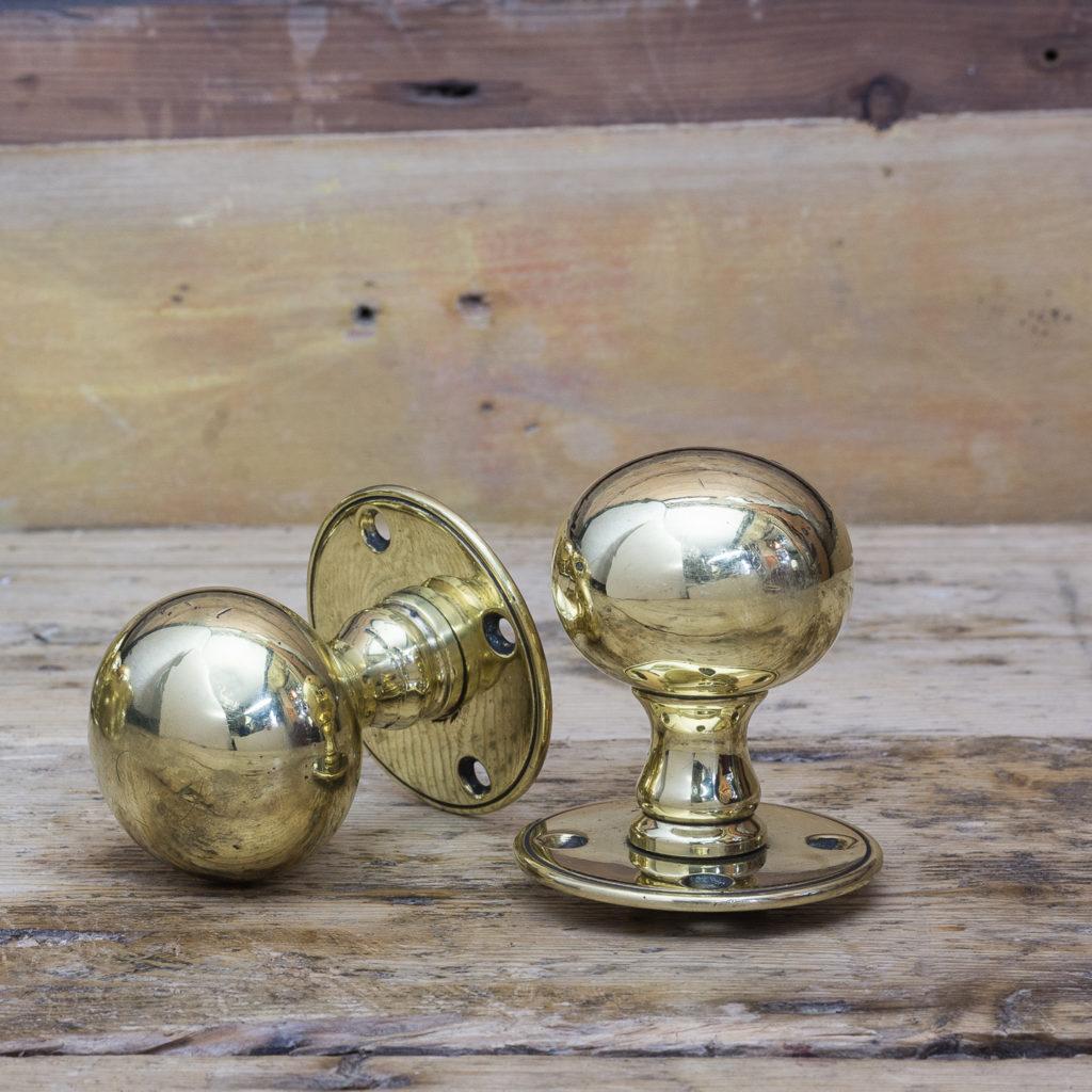 Late Victorian brass door knobs,-122335