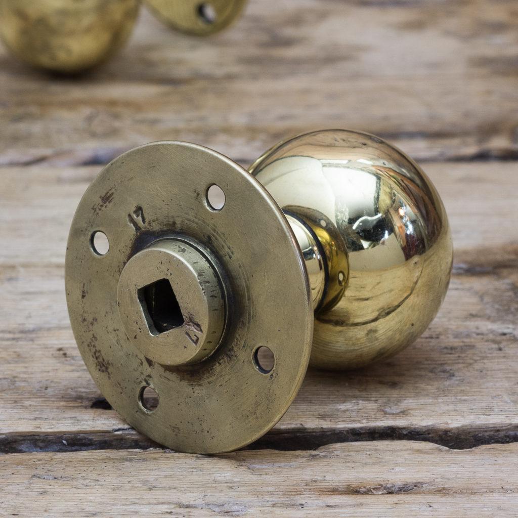 Late Victorian brass door knobs,-122336