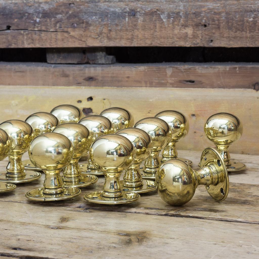 Late Victorian brass door knobs,-0
