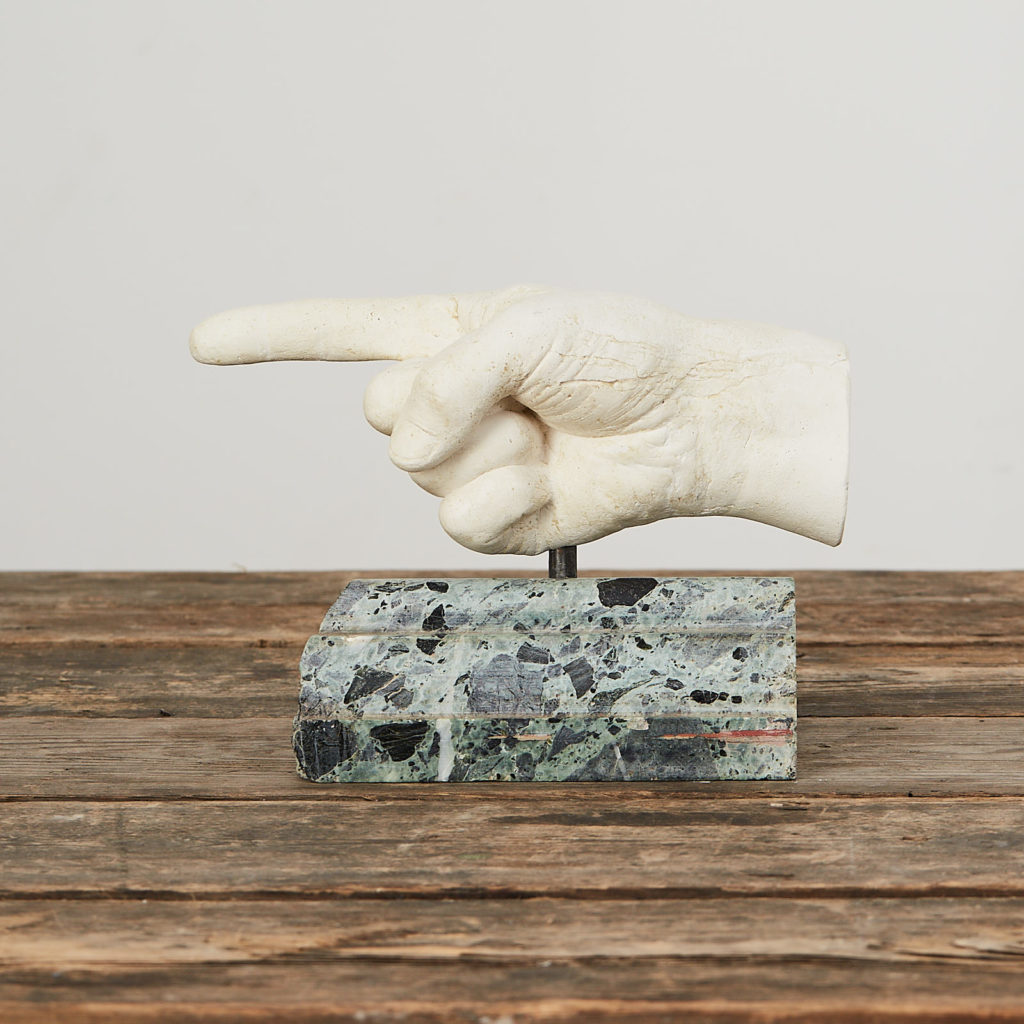 Plaster cast pointing hand,-0