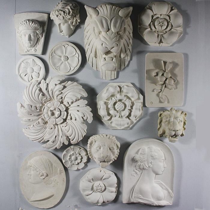 A cast plaster Tudor Rose octagonal flowerhead boss,-122959