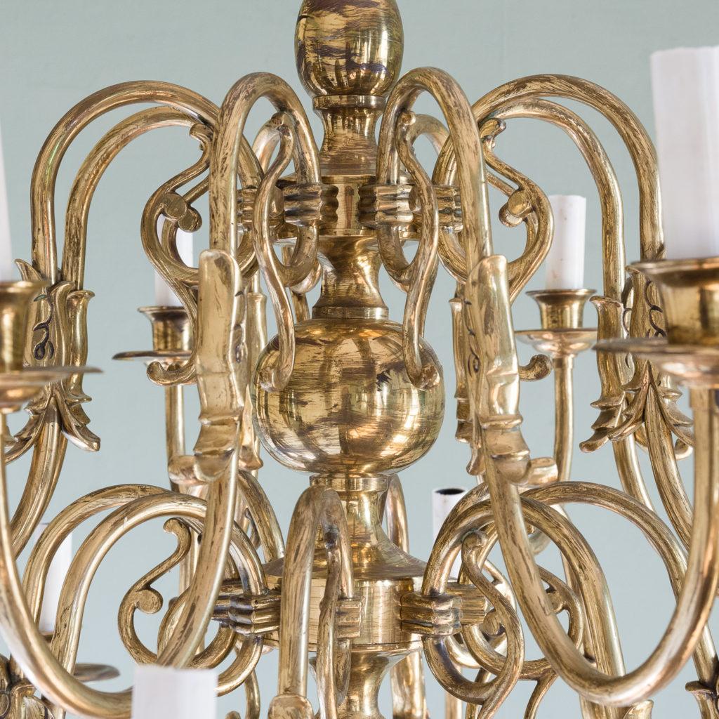 Sixteen light Flemish style brass chandelier,-122464