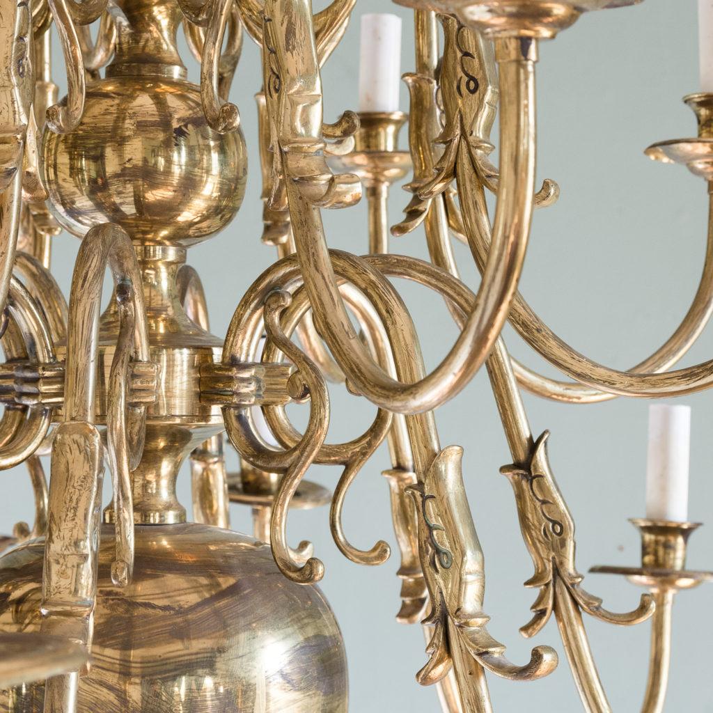 Sixteen light Flemish style brass chandelier,-122467