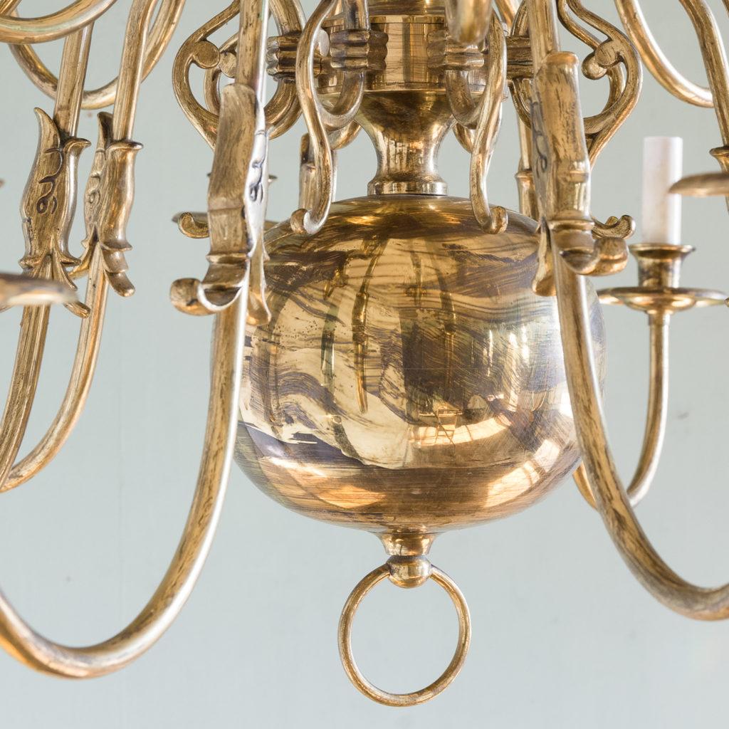 Sixteen light Flemish style brass chandelier,-122465