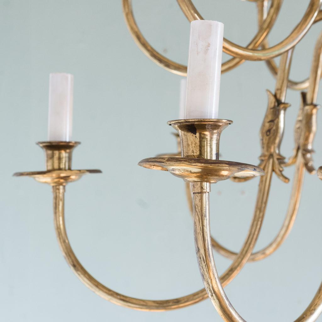 Sixteen light Flemish style brass chandelier,-122470