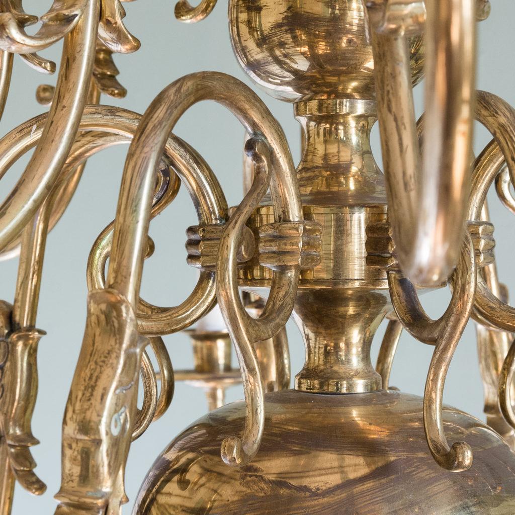 Sixteen light Flemish style brass chandelier,-122468