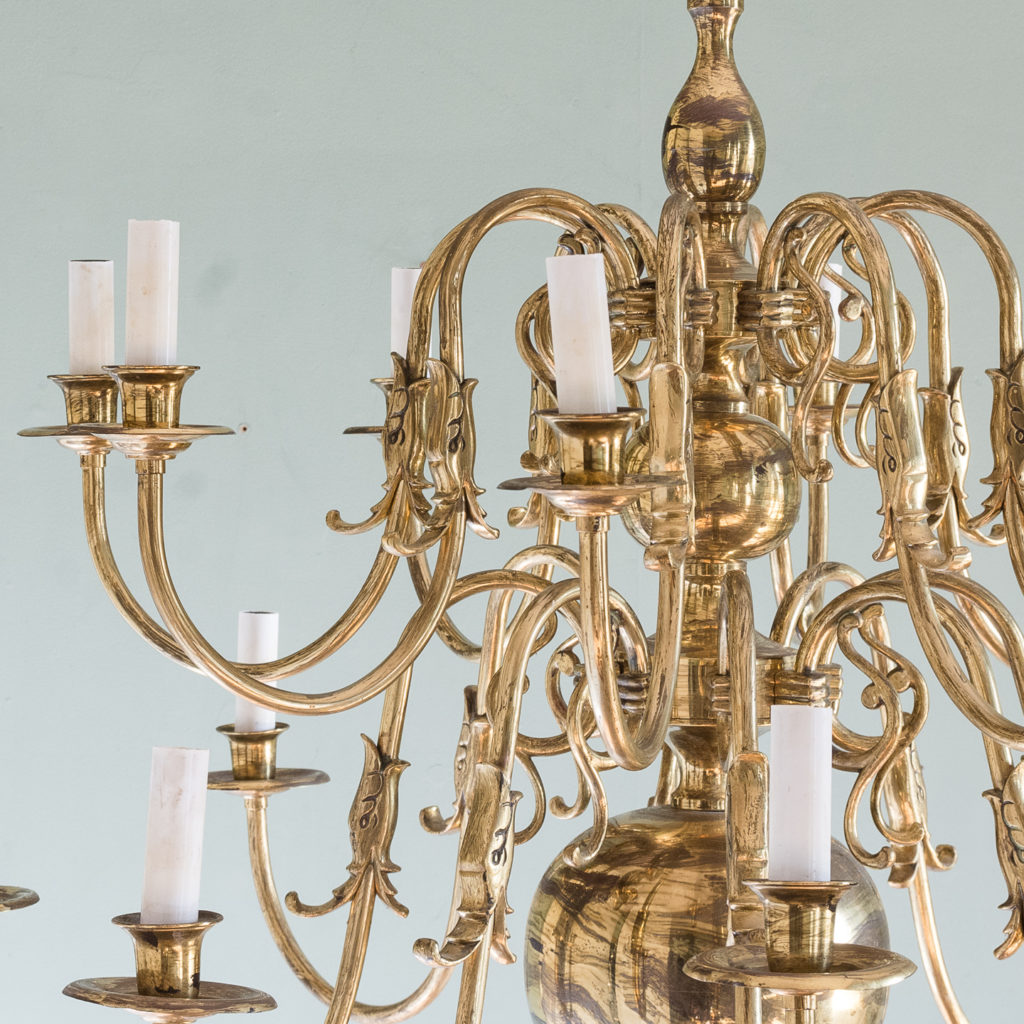 Sixteen light Flemish style brass chandelier,-122466