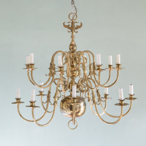 Sixteen light Flemish style brass chandelier,-0