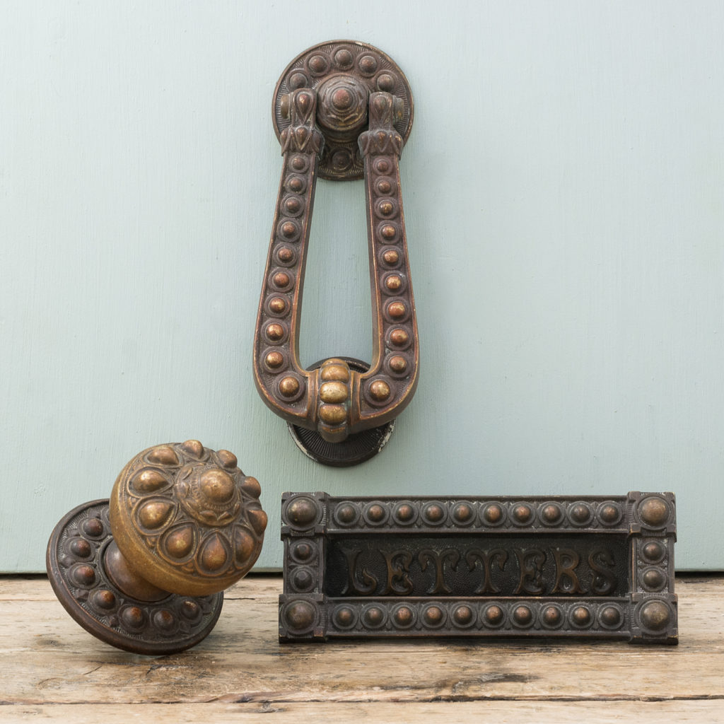 Victorian brass door furniture suite,