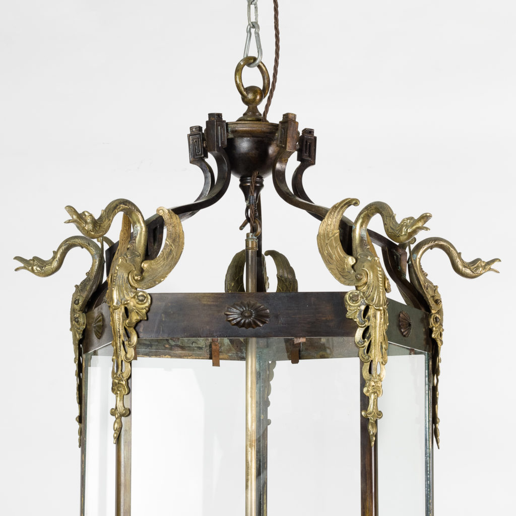 Late nineteenth century French Empire style hall lantern of pentagonal form with gilt swan mounts