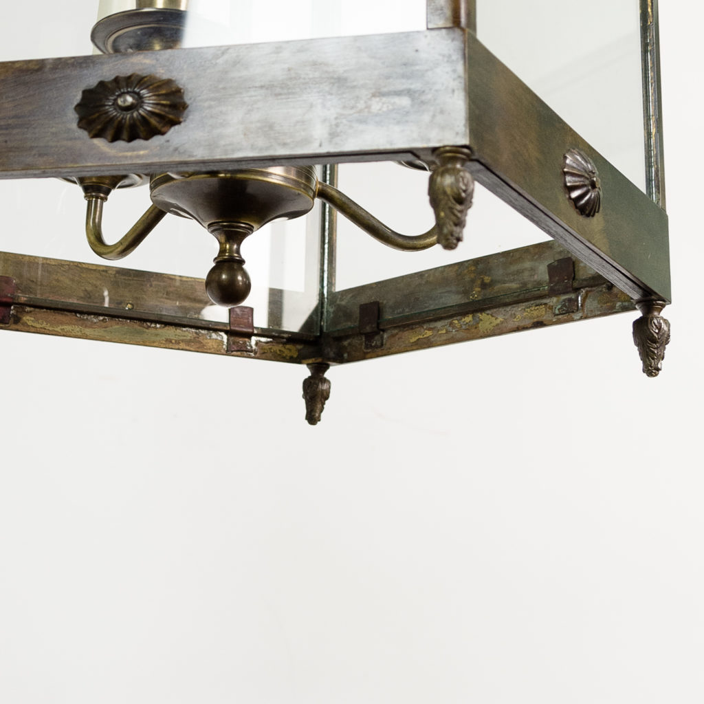 Late nineteenth century French Empire style hall lantern with three light suspended fitting within