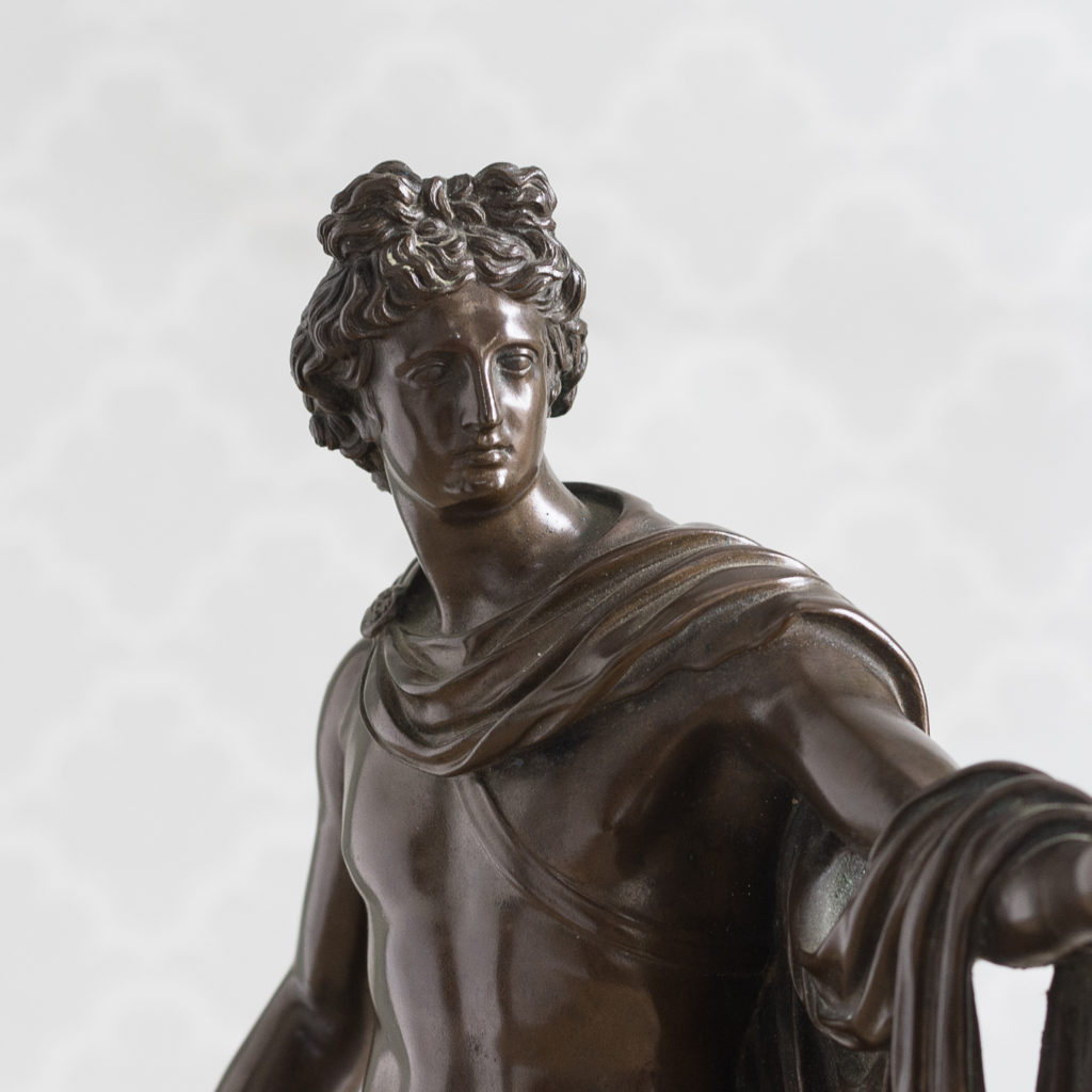 Detail of a nineteenth century Italian bronze of 'The Apollo Belvedere',