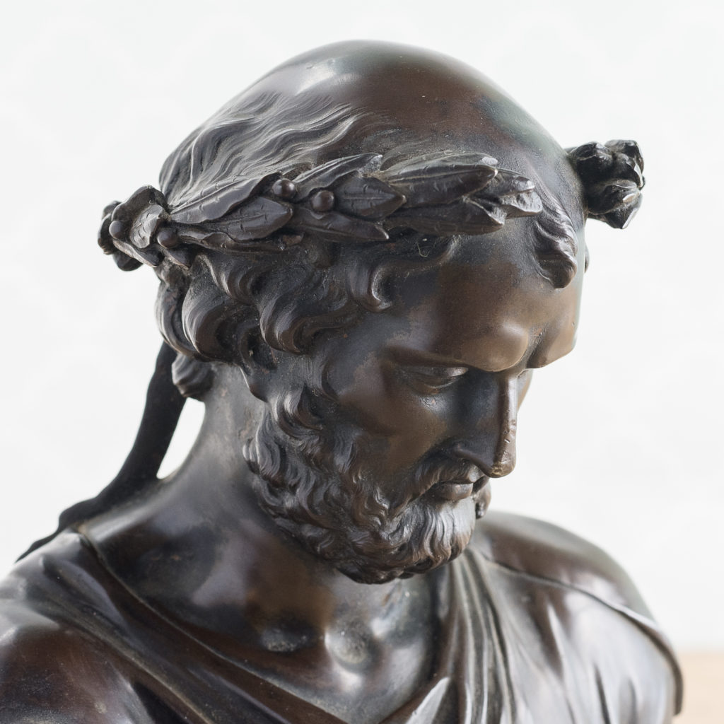 French late nineteenth century bronze portrait bust of Hippocrates, -123094