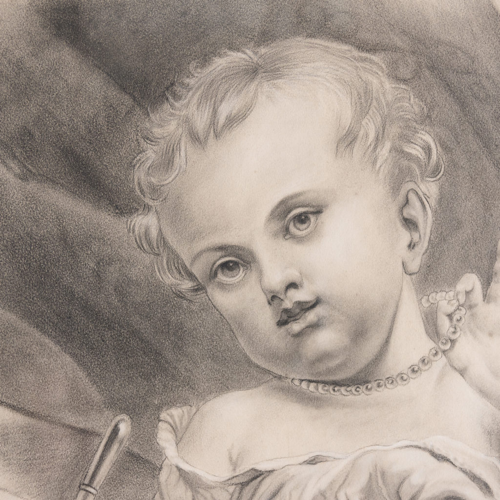 Victorian pencil drawing of a child with a pacifier,