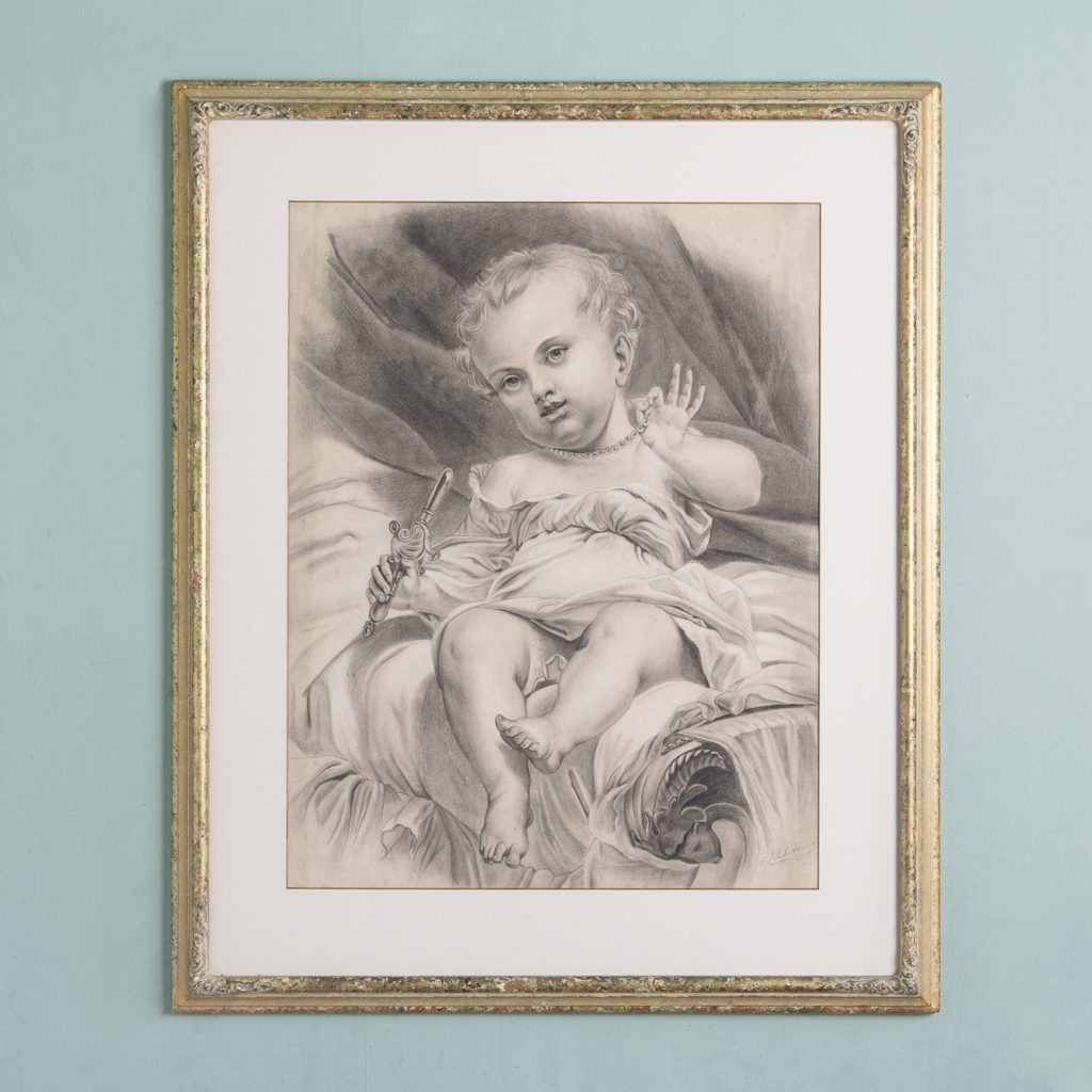 Victorian pencil drawing of a child with a pacifier,-0