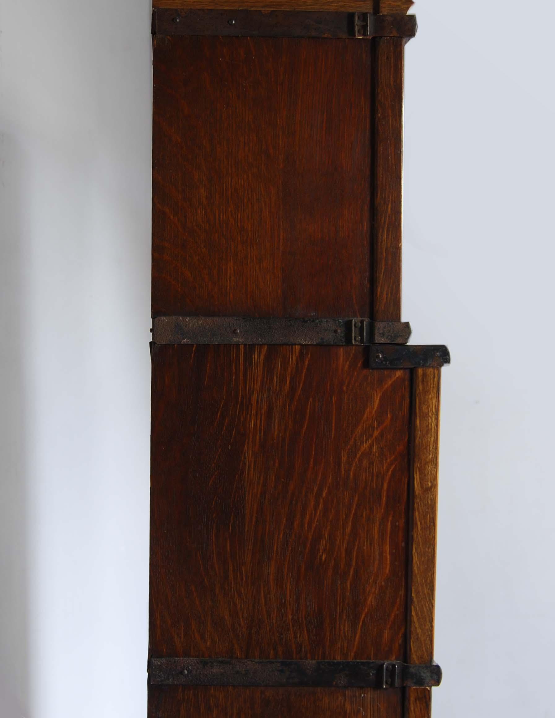 An English oak glazed sectional bookcase,-127750