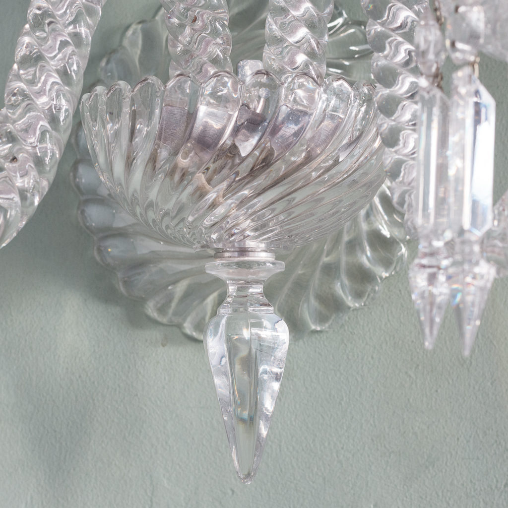 Pair of Baccarat glass wall appliques,