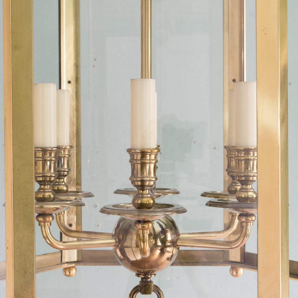 Substantial brass hexagonal hall lantern,-123490