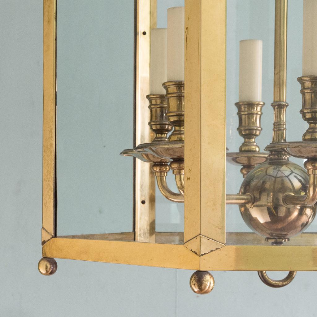 Substantial brass hexagonal hall lantern,-123494