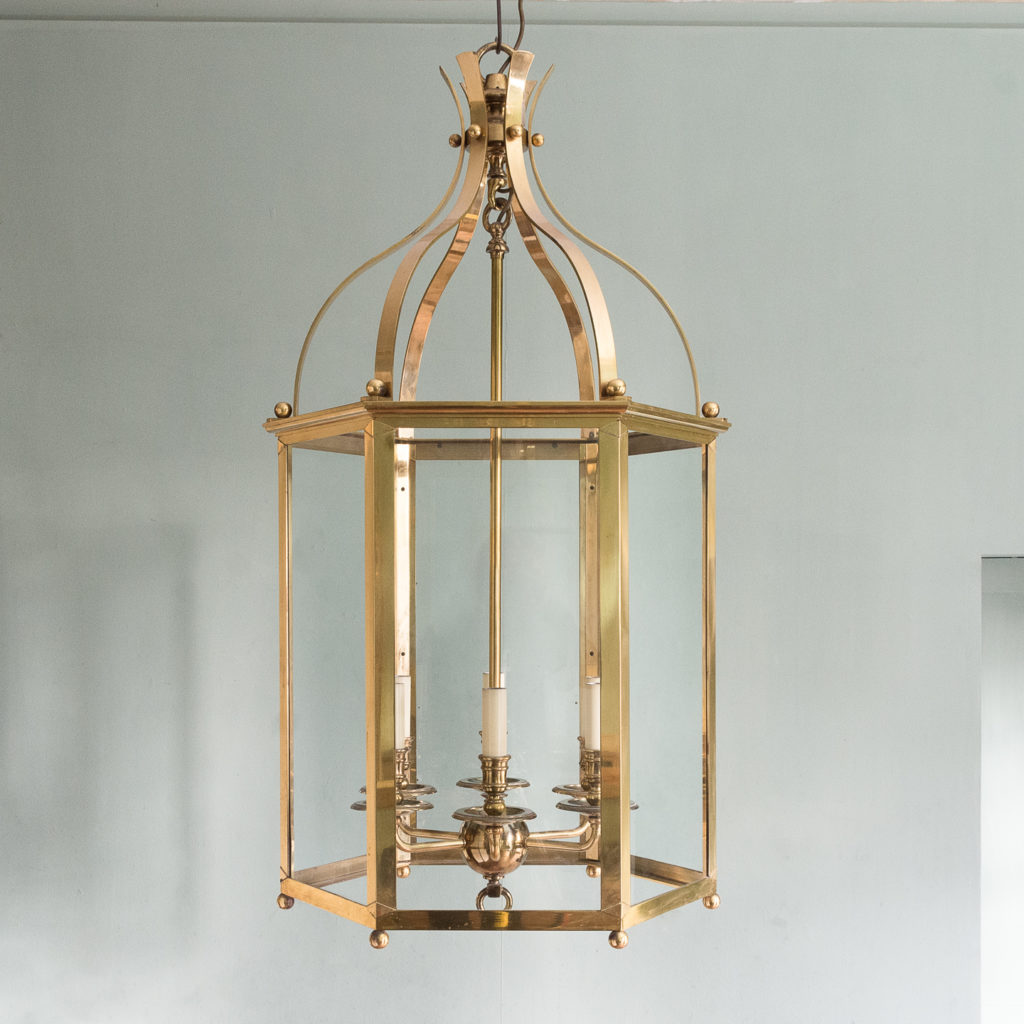 Substantial brass hexagonal hall lantern,