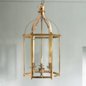Substantial brass hexagonal hall lantern,