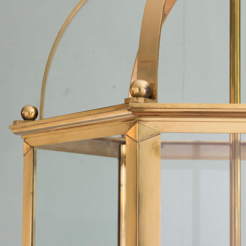 Substantial brass hexagonal hall lantern,-123492