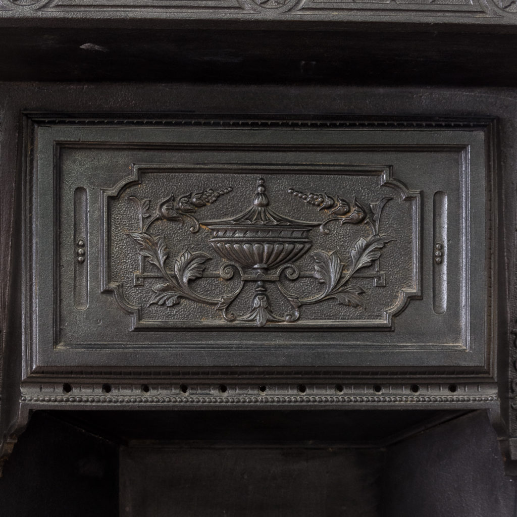 Late Victorian Carrara marble chimneypiece and cast iron insert,-124167