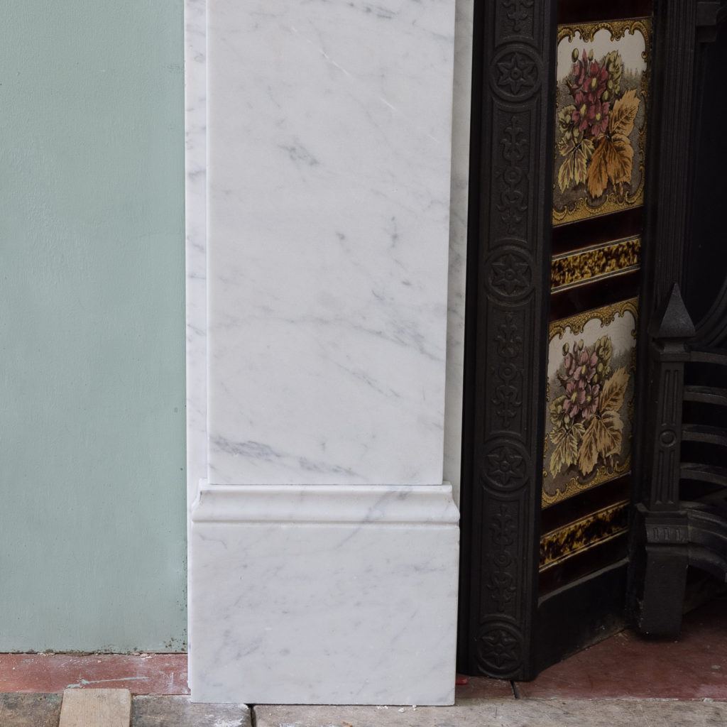 Late Victorian Carrara marble chimneypiece and cast iron insert,-124176