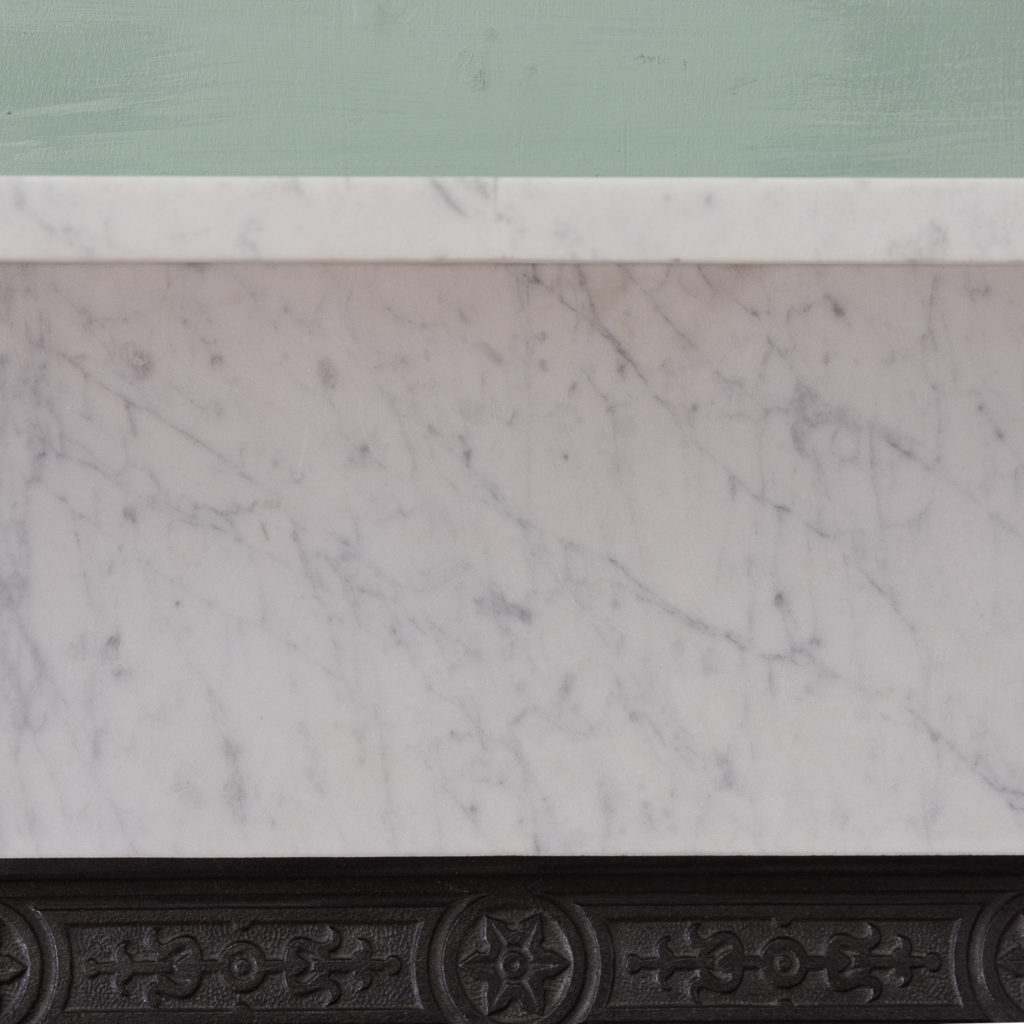 Late Victorian Carrara marble chimneypiece and cast iron insert,-124169