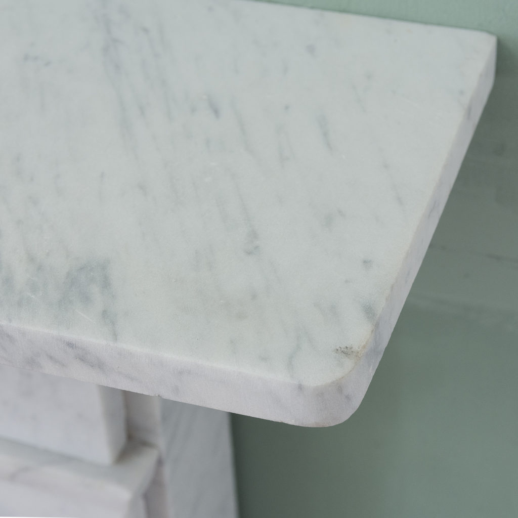 Late Victorian Carrara marble chimneypiece and cast iron insert,-124164