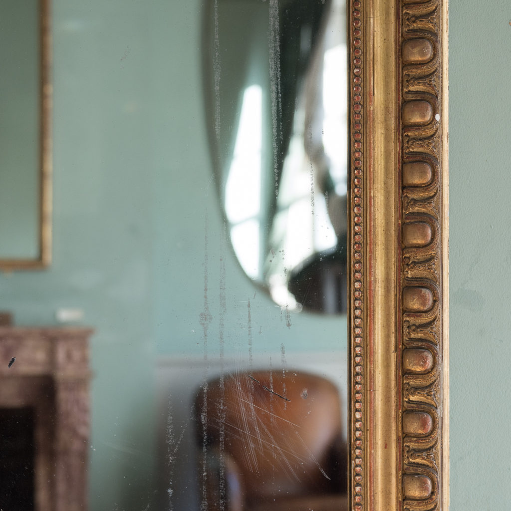 Mid nineteenth century French gilded wall mirror,-124297