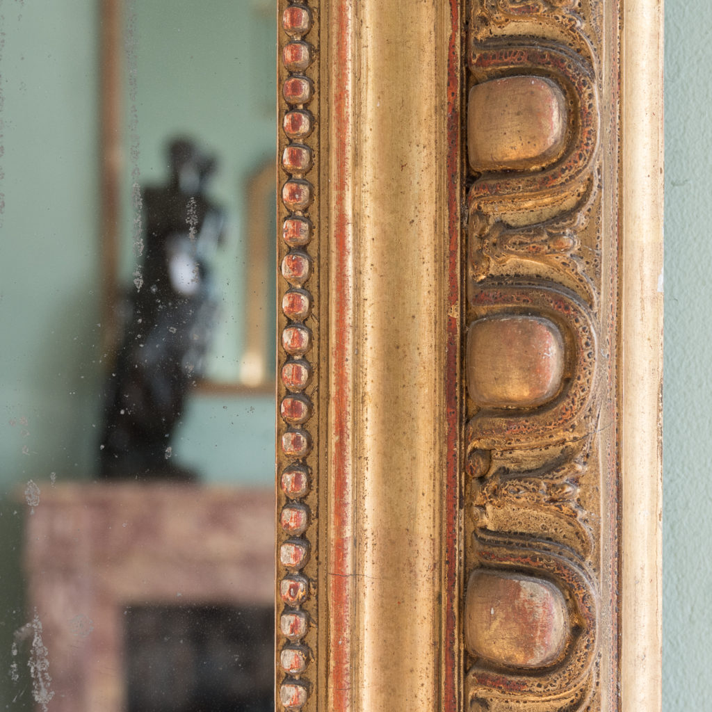 Mid nineteenth century French gilded wall mirror,-124296