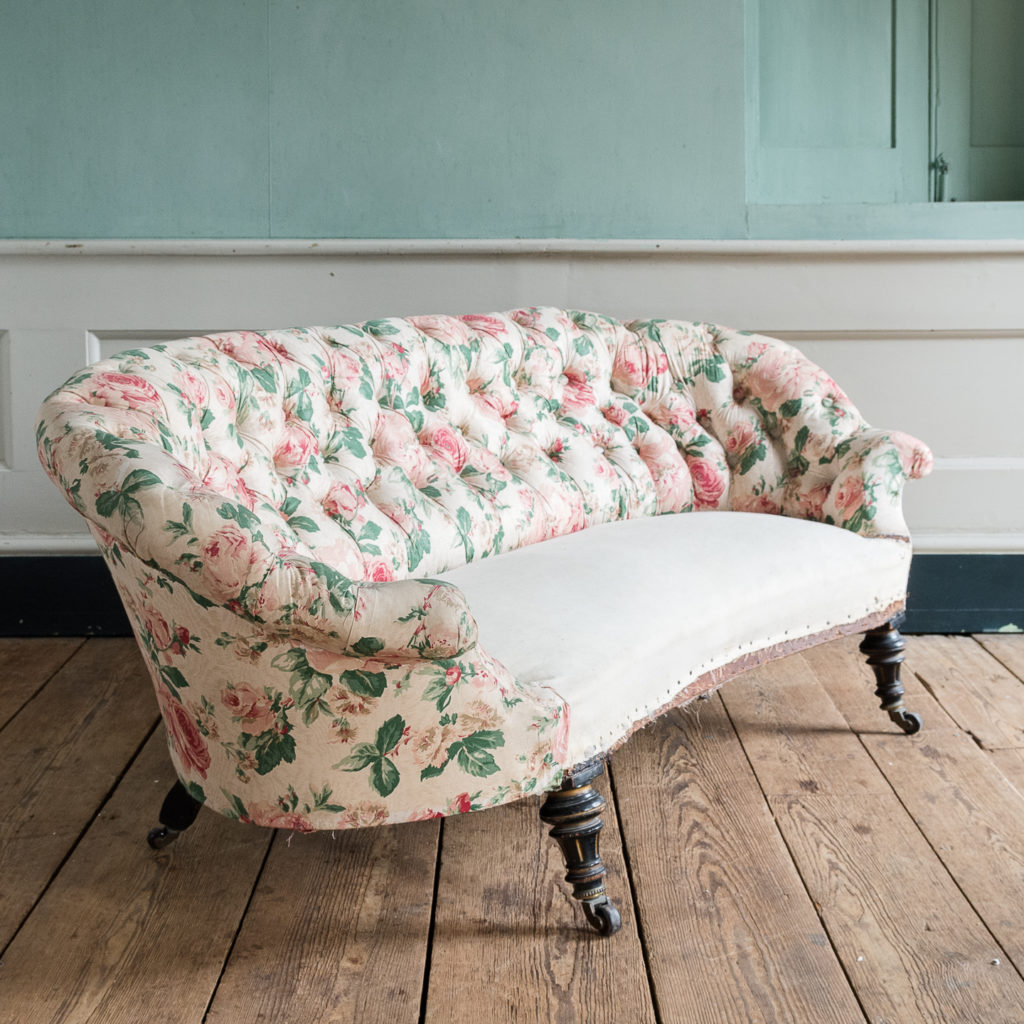 Small Victorian button-back kidney shaped sofa,