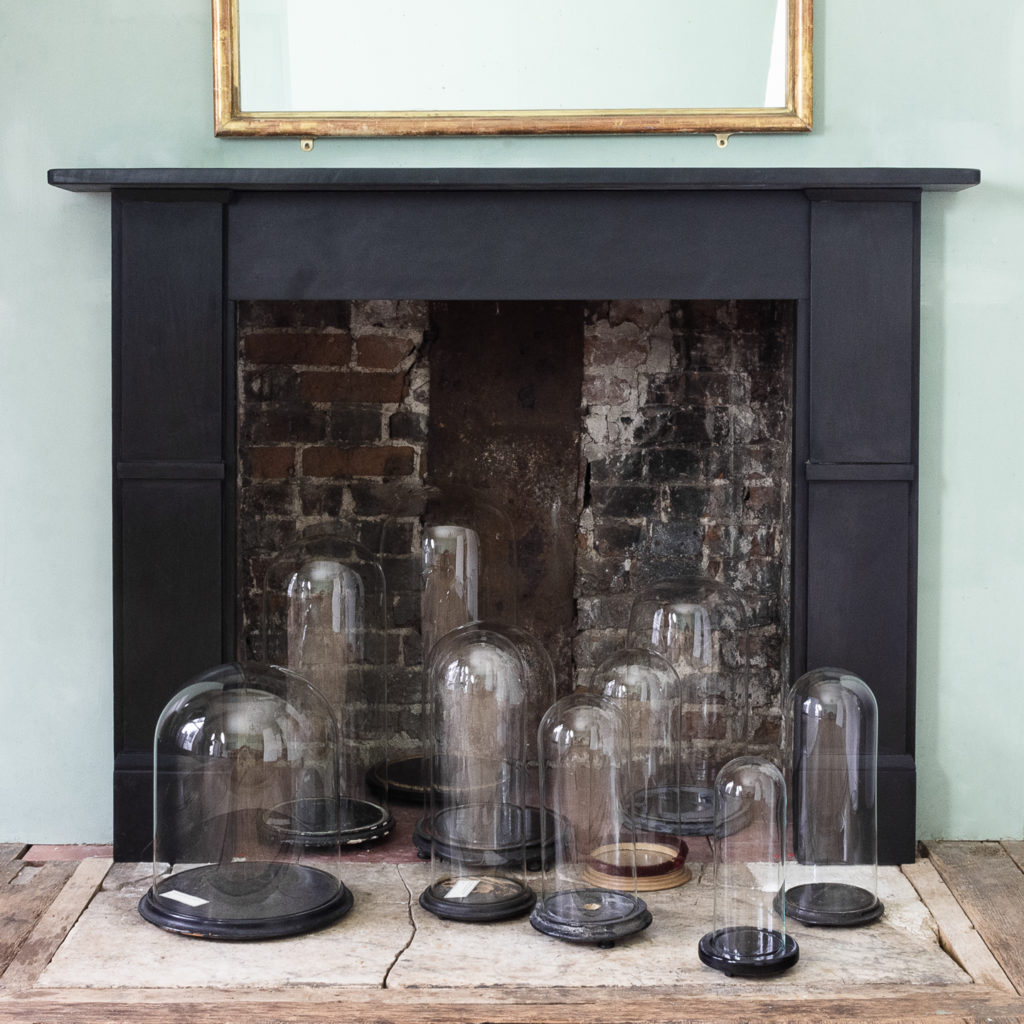 Glass display domes and a Victorian slate chimneypiece