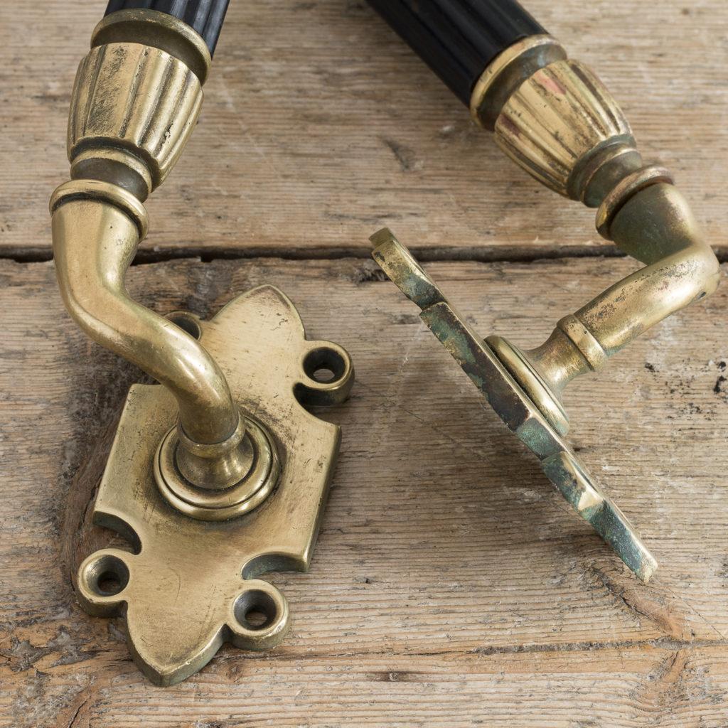 Victorian brass and ebony door pulls