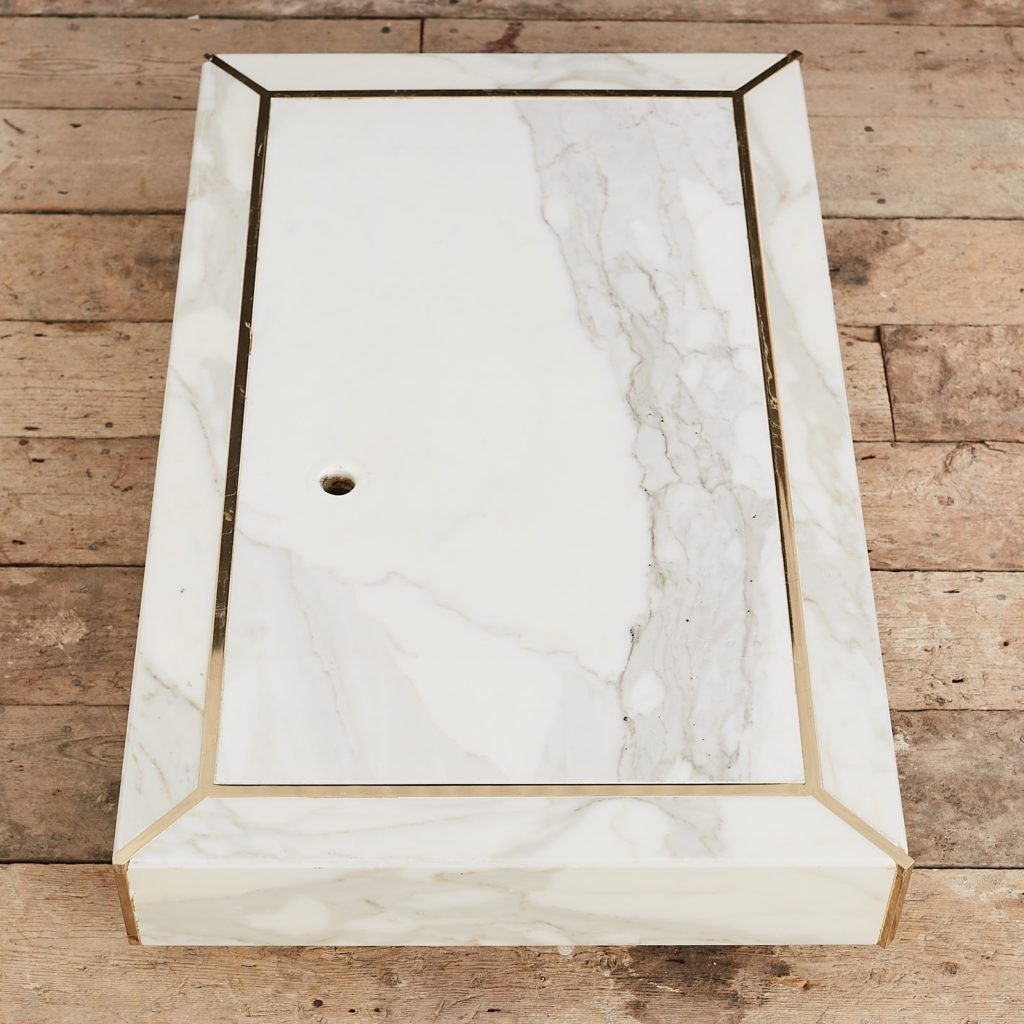 Marble mannequin plinth with brass inlay, -125022
