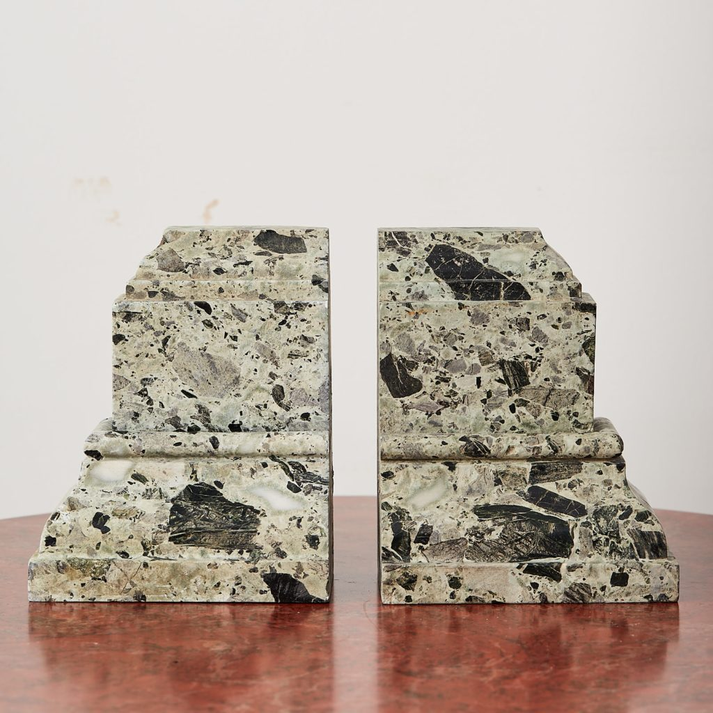 Green verde antico marble bookends