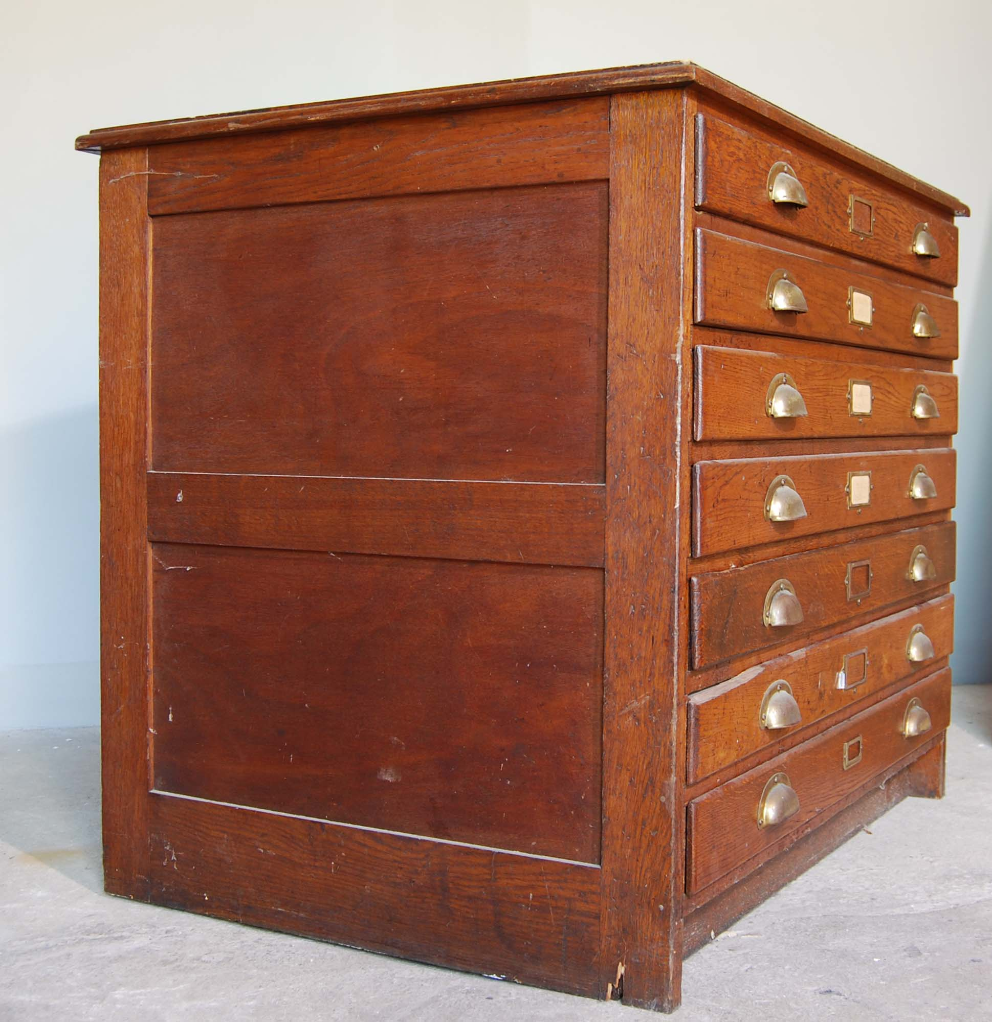 An English oak seven drawer plan chest,-130449